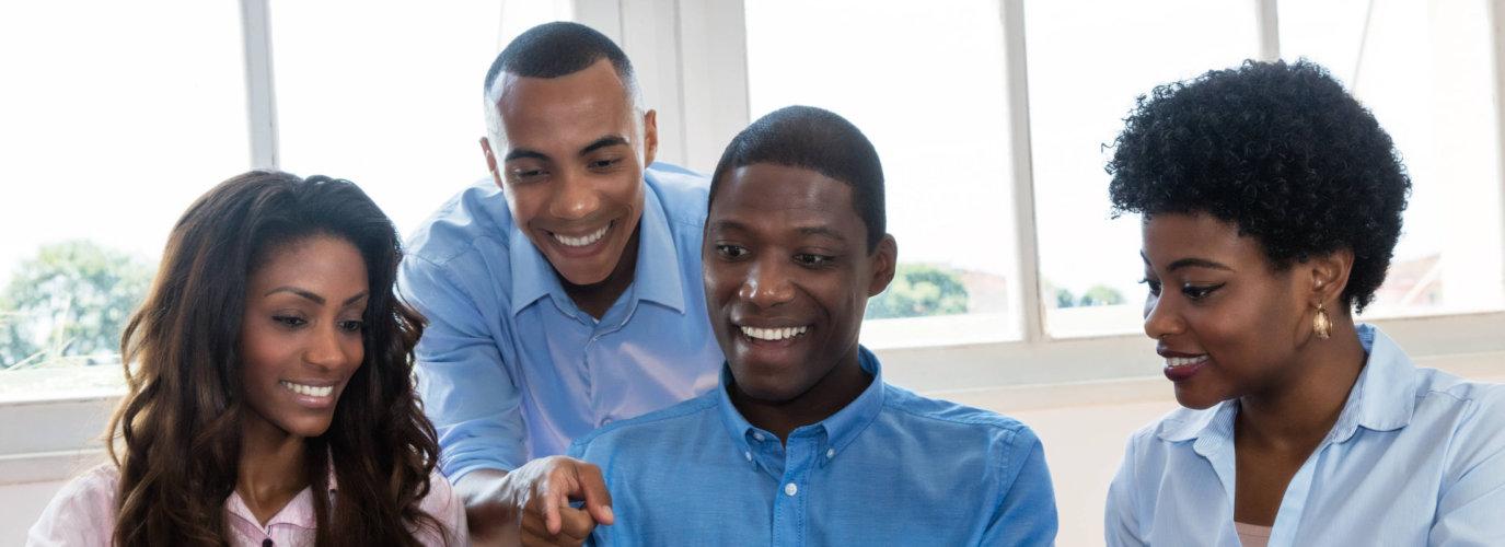young professionals smiling indoor